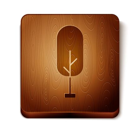 Brown Tree icon isolated on white background. Forest symbol. Wooden square button. Vector Illustration
