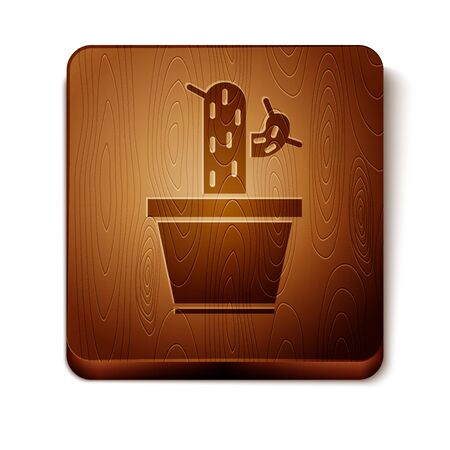 Brown Cactus and succulent in pot icon isolated on white background. Plant growing in a pot. Potted plant sign. Wooden square button. Vector Illustration