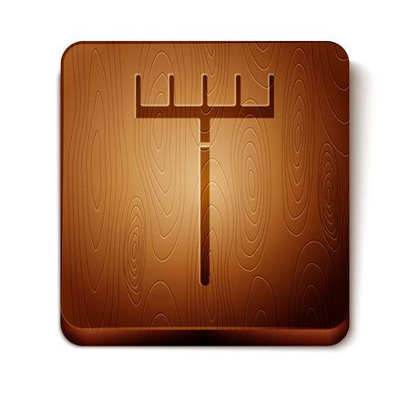 Brown Garden rake icon isolated on white background. Tool for horticulture, agriculture, farming. Ground cultivator. Housekeeping equipment. Wooden square button. Vector Illustration