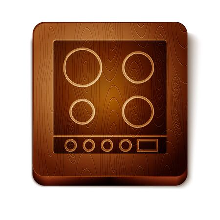 Brown Gas stove icon isolated on white background. Cooktop sign. Hob with four circle burners. Wooden square button. Vector Illustration Standard-Bild - 134864989