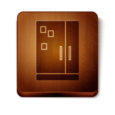 Brown Refrigerator icon isolated on white background. Fridge freezer refrigerator. Household tech and appliances. Wooden square button. Vector Illustration