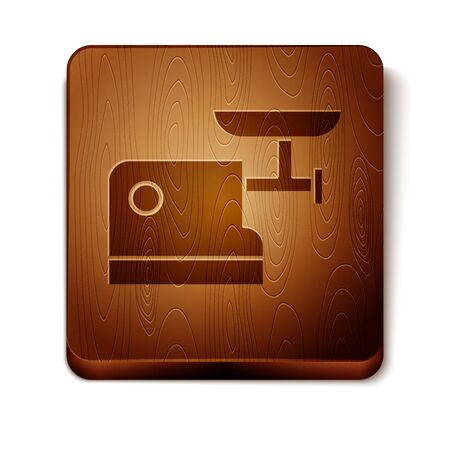 Brown Kitchen meat grinder icon isolated on white background. Wooden square button. Vector Illustration 向量圖像