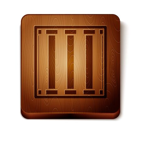 Brown Prison window icon isolated on white background. Wooden square button. Vector Illustration