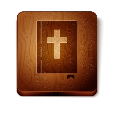 Brown Holy bible book icon isolated on white background. Wooden square button. Vector Illustration 일러스트