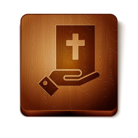 Brown Oath on the Holy Bible icon isolated on white background. The procedure in court. Truth and truth. Promise before god. Wooden square button. Vector Illustration 向量圖像