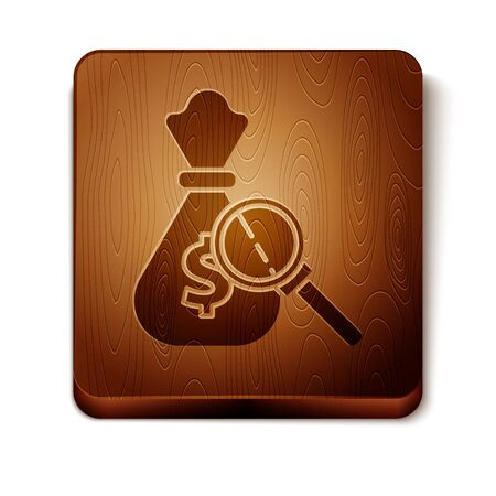 Brown Money bag and magnifying glass icon isolated on white background. Dollar or USD symbol. Cash Banking currency sign. Wooden square button. Vector Illustration Çizim