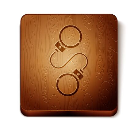 Brown Handcuffs icon isolated on white background. Wooden square button. Vector Illustration