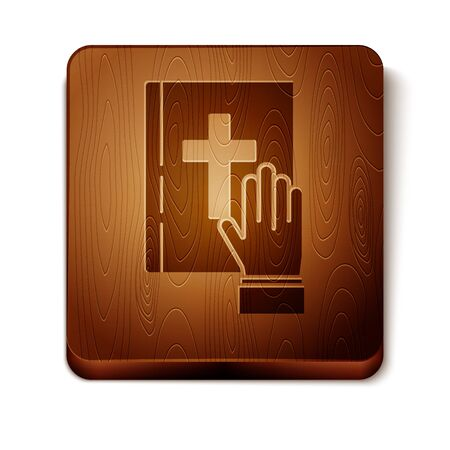 Brown Oath on the Holy Bible icon isolated on white background. The procedure in court. Truth and truth. Promise before god. Wooden square button. Vector Illustration Illusztráció