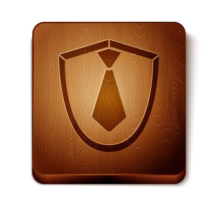 Brown Tie icon isolated on white background. Necktie and neckcloth symbol. Wooden square button. Vector Illustration Vectores