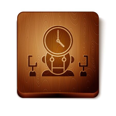 Brown Robot and digital time manager icon isolated on white background. Time management assistance, workflow optimization help. Wooden square button. Vector Illustration Ilustracja