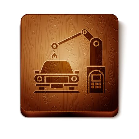 Brown Industrial machine robotic robot arm hand on car factory icon isolated on white background. Industrial automation production automobile. Wooden square button. Vector Illustration
