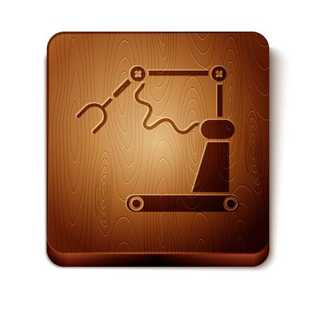 Brown Industrial machine robotic robot arm hand factory icon isolated on white background. Industrial robot manipulator. Wooden square button. Vector Illustration
