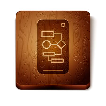 Brown Algorithm icon isolated on white background. Algorithm symbol design from Artificial Intelligence collection. Wooden square button. Vector Illustration