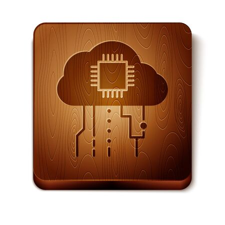 Brown Internet of things icon isolated on white background. Cloud computing design concept. Digital network connection. Wooden square button. Vector Illustration