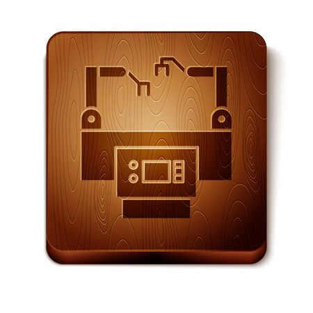 Brown Assembly line icon isolated on white background. Automatic production conveyor. Robotic industry concept. Wooden square button. Vector Illustration