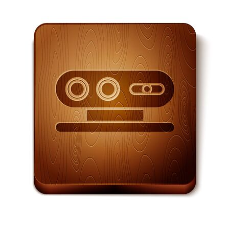Brown 3d scanning system icon isolated on white background. Wooden square button. Vector Illustration Ilustracja