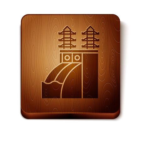 Brown Nuclear power plant icon isolated on white background. Energy industrial concept. Wooden square button. Vector Illustration