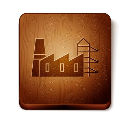 Brown Power station plant and factory icon isolated on white background. Energy industrial concept. Wooden square button. Vector Illustration