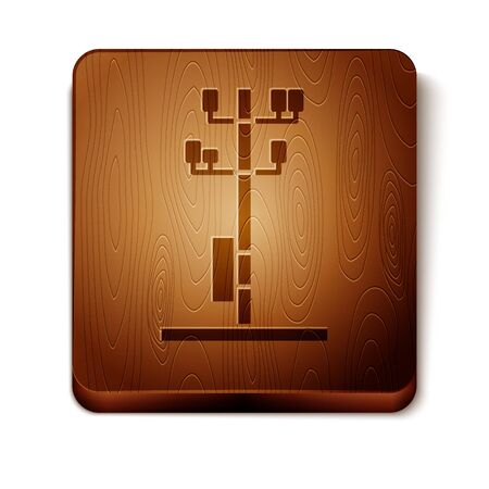Brown Electric tower used to support an overhead power line icon isolated on white background. High voltage power pole line. Wooden square button. Vector Illustration