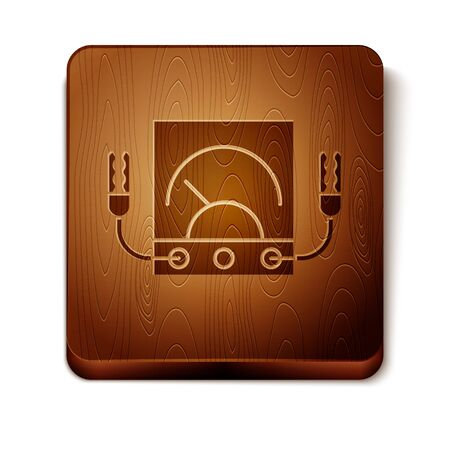 Brown Ampere meter, multimeter, voltmeter icon isolated on white background. Instruments for measurement of electric current. Wooden square button. Vector Illustration