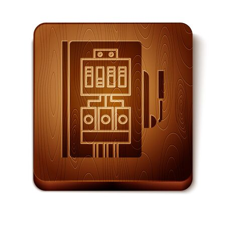 Brown Electrical panel icon isolated on white background. Wooden square button. Vector Illustration