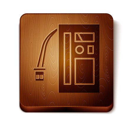 Brown Battery icon isolated on white background. Accumulator battery energy power and electricity accumulator battery. Wooden square button. Vector Illustration