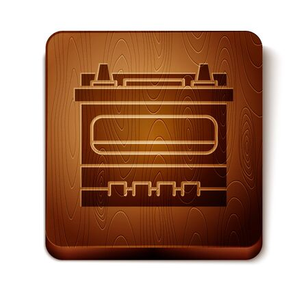 Brown Car battery icon isolated on white background. Accumulator battery energy power and electricity accumulator battery. Wooden square button. Vector Illustration Иллюстрация