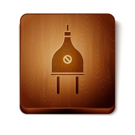 Brown Electric plug icon isolated on white background. Concept of connection and disconnection of the electricity. Wooden square button. Vector Illustration Vectores