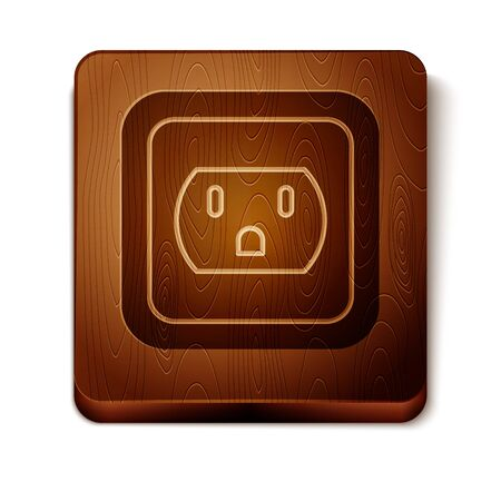 Brown Electrical outlet in the USA icon isolated on white background. Power socket. Wooden square button. Vector Illustration Stock Illustratie