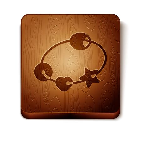 Brown Rattle baby toy icon isolated on white background. Beanbag sign. Wooden square button. Vector Illustration
