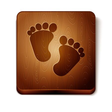 Brown Baby footprints icon isolated on white background. Baby feet sign. Wooden square button. Vector Illustration Foto de archivo - 134874229