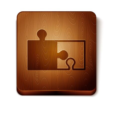 Brown Piece of puzzle icon isolated on white background. Modern flat, business, marketing, finance, internet concept. Wooden square button. Vector Illustration Ilustracja