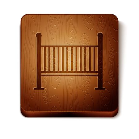 Brown Baby crib cradle bed icon isolated on white background. Wooden square button. Vector Illustration
