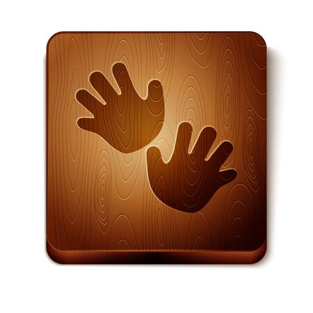 Brown Baby hands print icon isolated on white background. Wooden square button. Vector Illustration Foto de archivo - 134864666