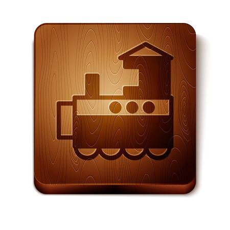 Brown Toy train icon isolated on white background. Wooden square button. Vector Illustration