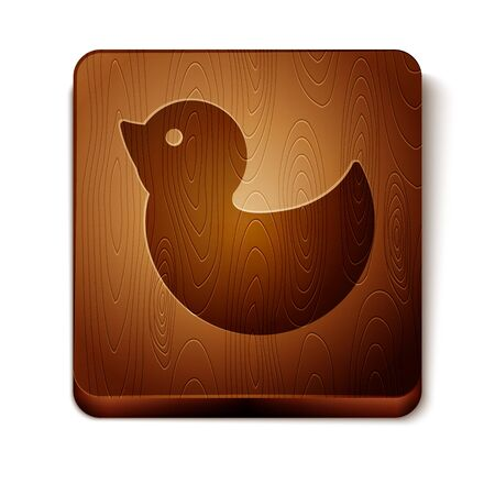 Brown Rubber duck icon isolated on white background. Wooden square button. Vector Illustration Foto de archivo - 134874235