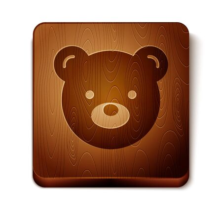 Brown Teddy bear plush toy icon isolated on white background. Wooden square button. Vector Illustration
