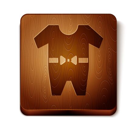 Brown Baby clothes icon isolated on white background. Baby clothing for baby girl and boy. Baby bodysuit. Wooden square button. Vector Illustration