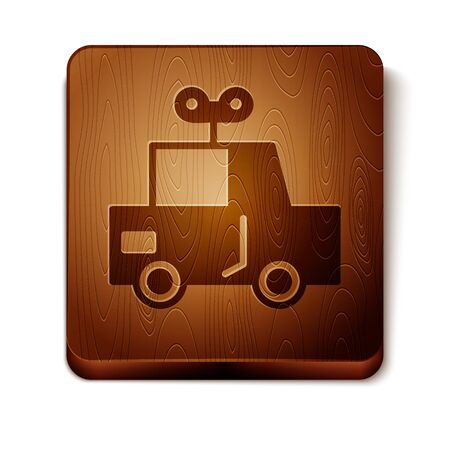 Brown Toy car icon isolated on white background. Wooden square button. Vector Illustration