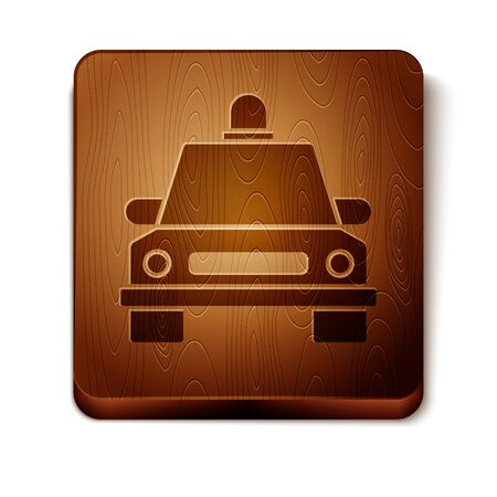 Brown Taxi car icon isolated on white background. Wooden square button. Vector Illustration