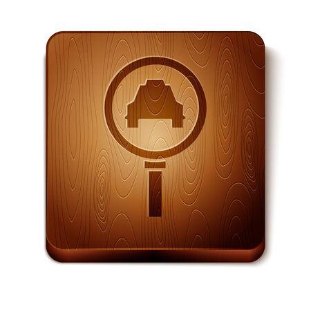 Brown Magnifying glass and taxi car icon isolated on white background. Taxi search. Wooden square button. Vector Illustration