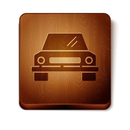 Brown Car icon isolated on white background. Front view. Wooden square button. Vector Illustration