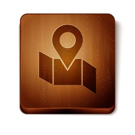 Brown Folded map with location marker icon isolated on white background. Wooden square button. Vector Illustration