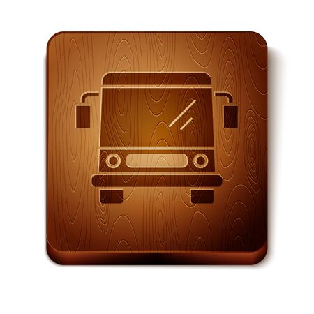 Brown Bus icon isolated on white background. Transportation concept. Bus tour transport sign. Tourism or public vehicle symbol. Wooden square button. Vector Illustration