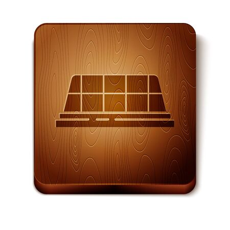 Brown Taxi car roof icon isolated on white background. Wooden square button. Vector Illustration