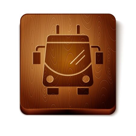 Brown Trolleybus icon isolated on white background. Public transportation symbol. Wooden square button. Vector Illustration 일러스트