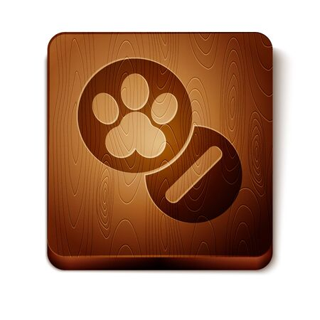 Brown Dog and pills icon isolated on white background. Prescription medicine for animal. Wooden square button. Vector Illustration Illustration