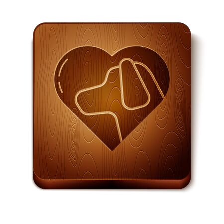 Brown Heart with dog icon isolated on white background. Pet paw in heart. Love to the animals. Wooden square button. Vector Illustration Illustration