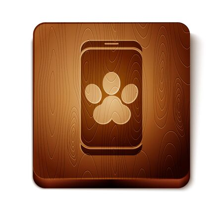 Brown Online veterinary clinic symbol icon isolated on white background. Cross with dog veterinary care. Pet First Aid sign. Wooden square button. Vector Illustration Ilustração