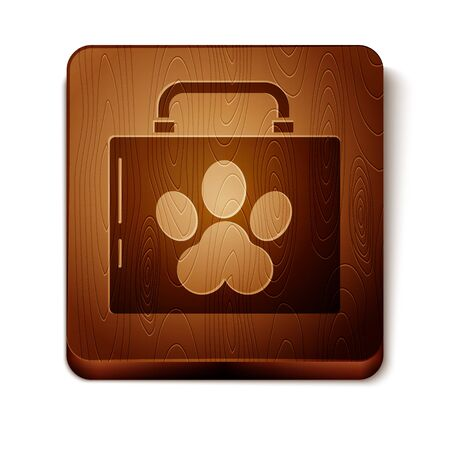 Brown Pet first aid kit icon isolated on white background. Dog or cat paw print. Clinic box. Wooden square button. Vector Illustration